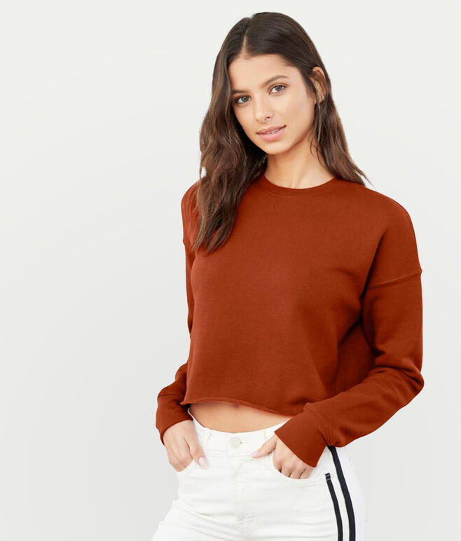 Embroidered Bella Ladies Cropped Sweatshirt