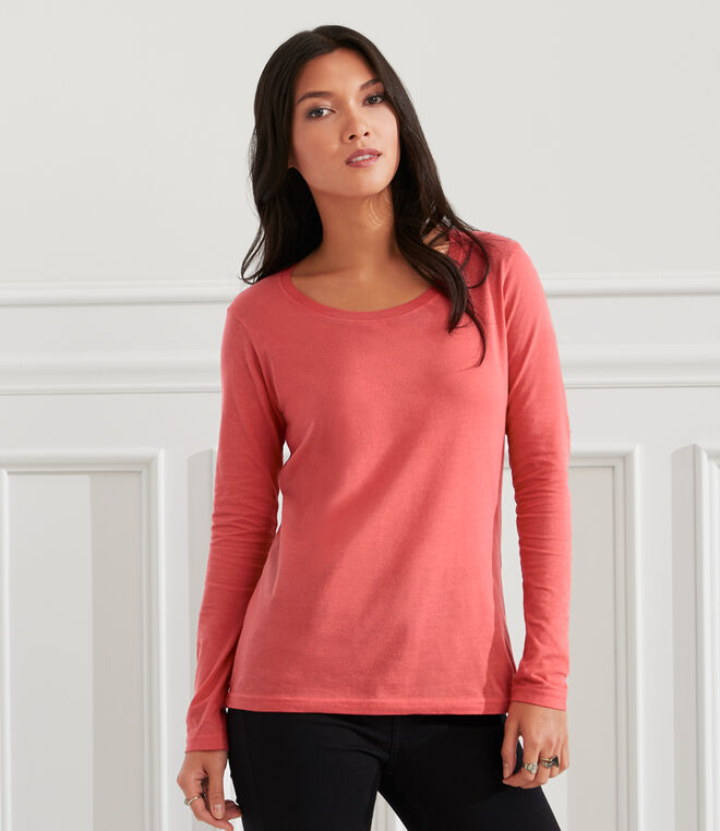 Anvil Ladies Sheer Long Sleeve Scoop Neck T-Shirt