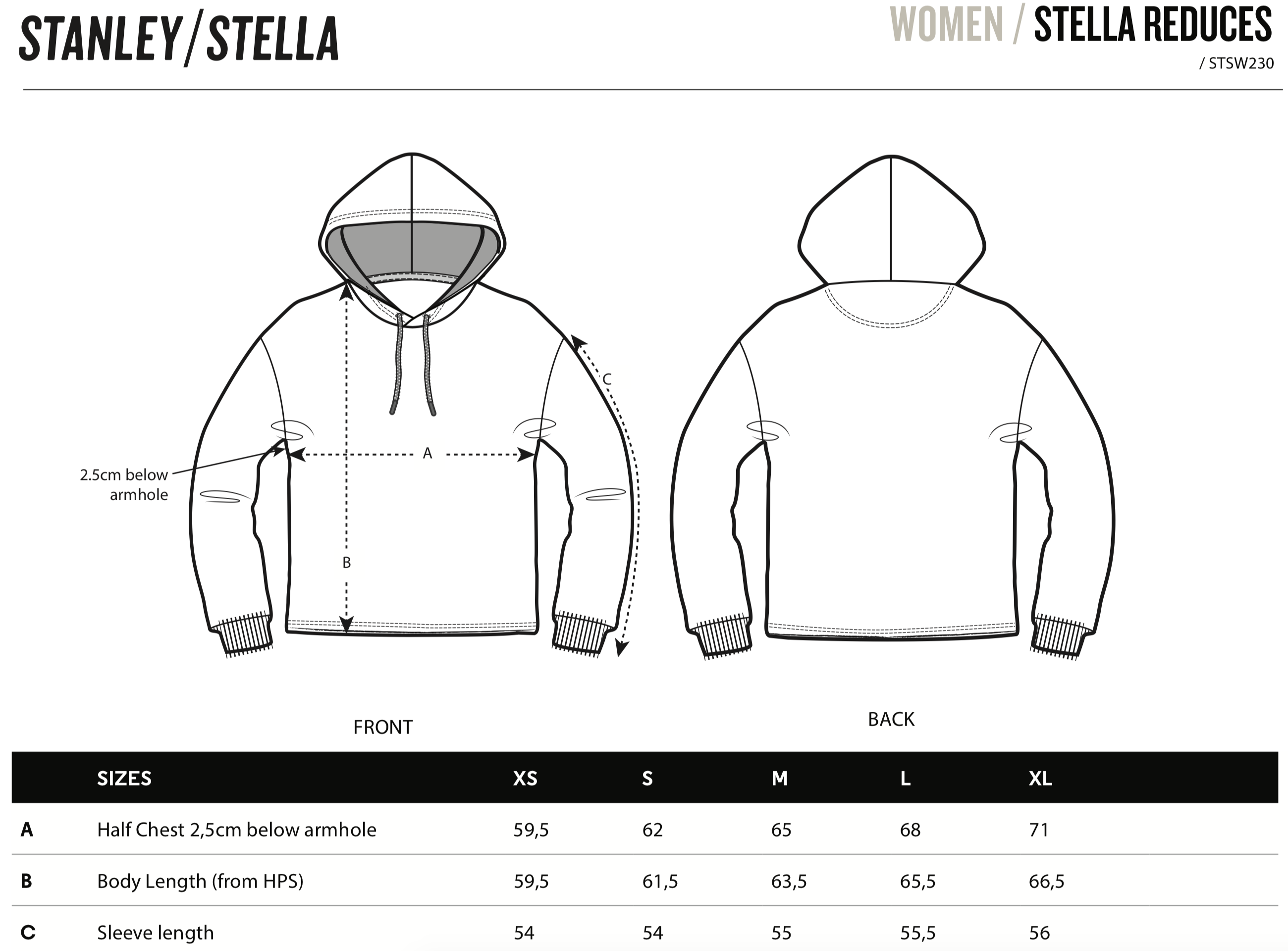Stella Reduces Size Guide